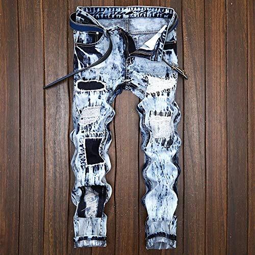 Con Uomo Morbidi Da Misto Ragazzo Dritti Vintage Jeans Strappato Fori Casual Comodi Cotone Hellblau Colore Moda Pantaloni FHO5qwyw0