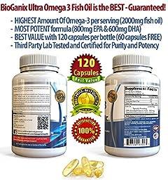 Ultra Omega-3 Fish Oil 2000mg Supplement /w 800 EPA + 600 DHA + Vitamin E (120 Softgels) Triple Strength Pharmaceutical Grade Natural Fatty Acids From Deep Blue Ocean Fish In Liquid Capsules