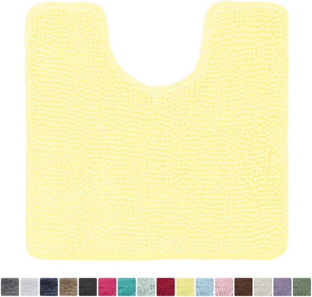 Soft Plush Carpet Rugs for Kids Tub and Bathroom Square U-Shape Contour Mat for Toilet Yellow Many Colors Kangaroo Original Shaggy Chenille Toilet Bath Rug Washable Mats Contoured for Toilets