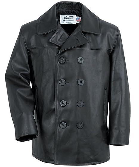 d74cda9c651 Schott NYC Leather Pea Coat   Peacoat