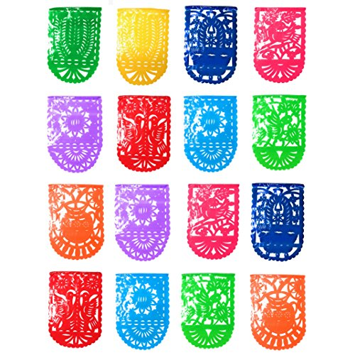 Medium Mexican Papel Picado Tissue PLASTIC Banner - Pack of 3 Banners of 16 Feet and 16 Vertical Frames Each (48 Frames and 48 feet in total) (Crackers Spanish In Christmas)