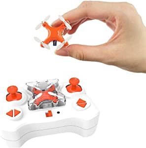 Pocket Quadcopter, SKYKING F001 Mini Drone for Kids/Beginners, Nano RC Helicopter with 3D Flips/Headless Mode/2 Speed/2.4Ghz 6 Axis Gyroscopeand, Great Gift (Orange)