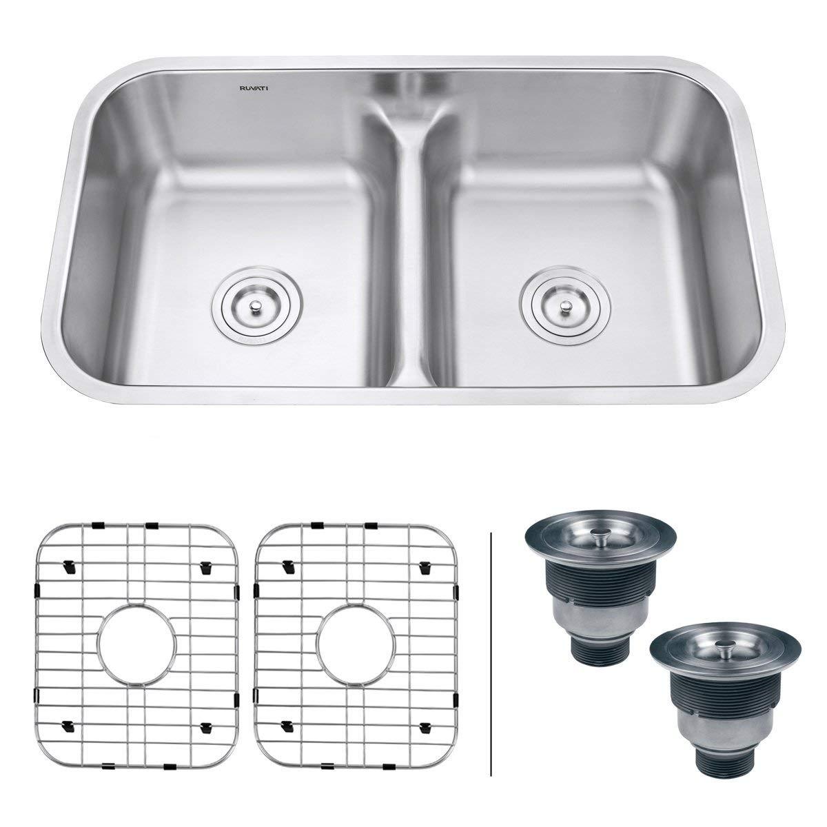Ruvati 32-inch Low-Divide 50/50 Double Bowl Undermount 16 Gauge Stainless Steel Kitchen Sink - RVM4350 (Renewed)
