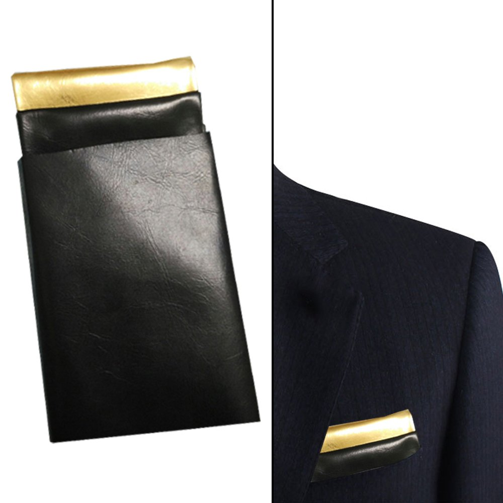 black and gold pocket square, Black and gold leather pocket square, Black & gold pocket square for men, Pocket square leather, gold pocket square, pocket square for man