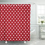 Polka Dot Shower Curtain TOMPOP Shower Curtain Yellow Poka Polka Dots White and Red Polkadot Black Waterproof Polyester Fabric 72 x 72 Inches Set with Hooks
