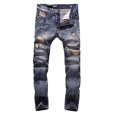 YiLianDa Hombre Vaqueros Cargo Slim Fit Biker Jeans Denim ...