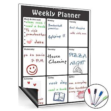 Pizarra blanca magnética de borrado en seco, con calendario mensual, organizador mensual y semanal, planificador para frigorí