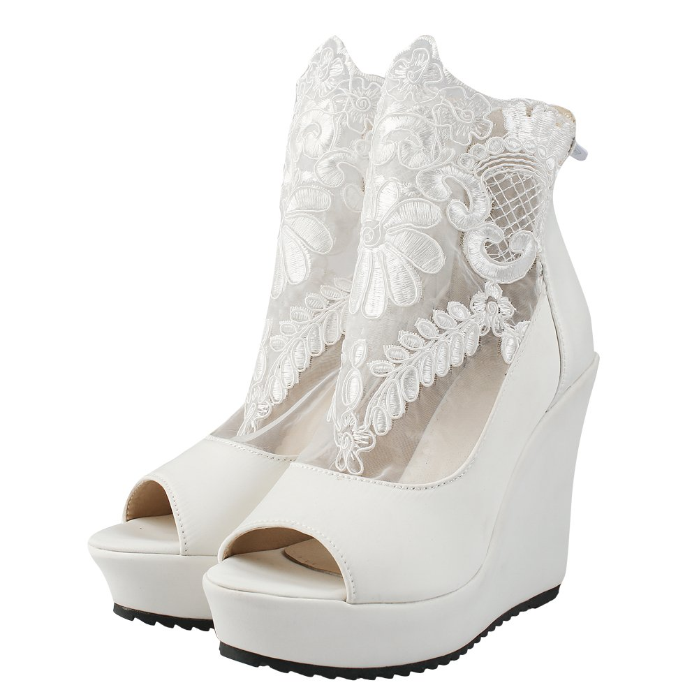 Latasa Women's Lace Peep-Toe Ankle High Summer Wedges Boots (6.5, White)