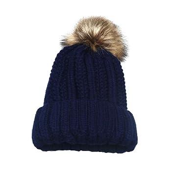 3161e3e9f37 Amazon.com   WensLTD Women Men Crochet Wool Knit Beanie Beret Ski Ball Cap  Baggy Winter Warm Hat (Navy)   Garden   Outdoor