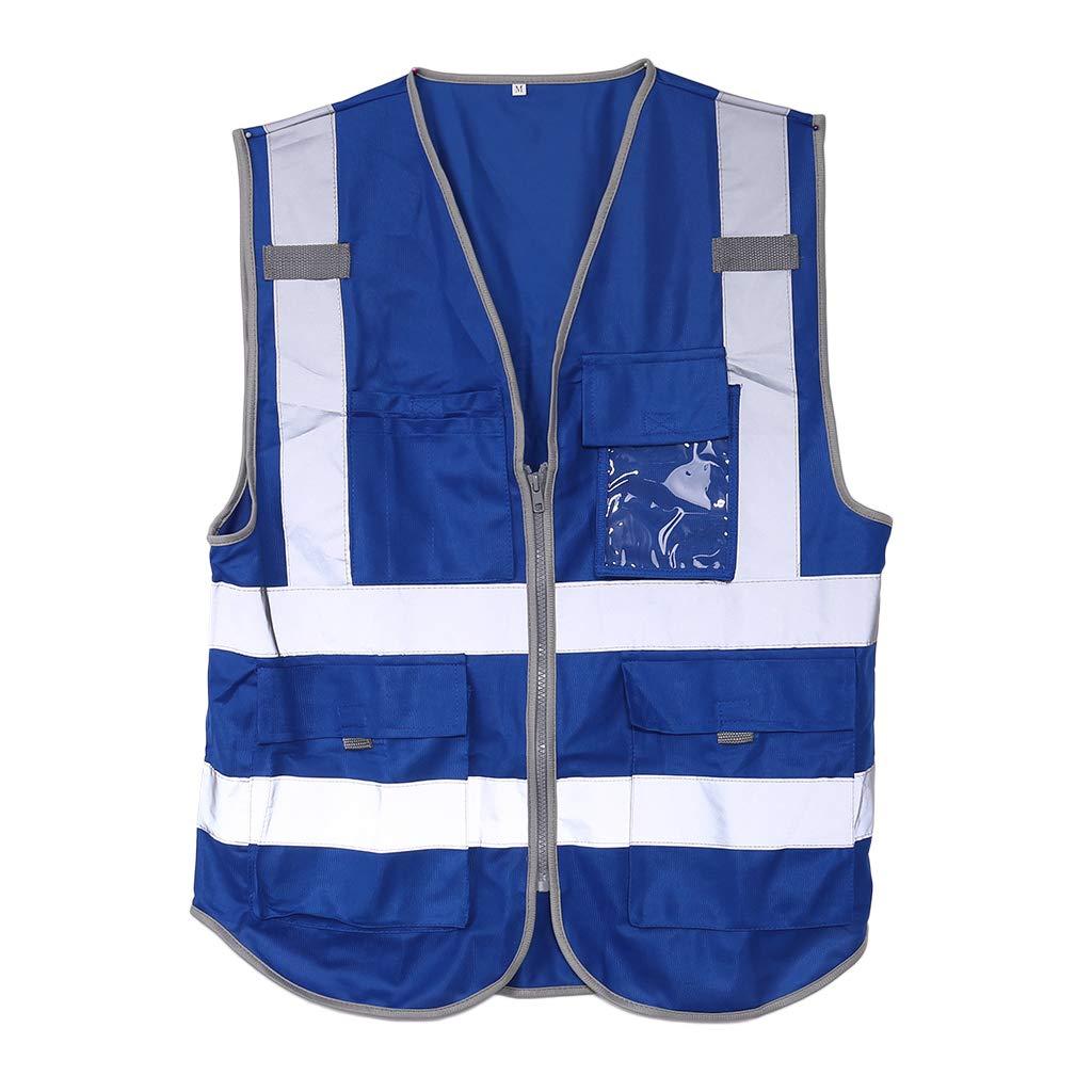 Lunji Unisex Gilet di sicurezza riflettente alta visibilità con tasche e Zipper