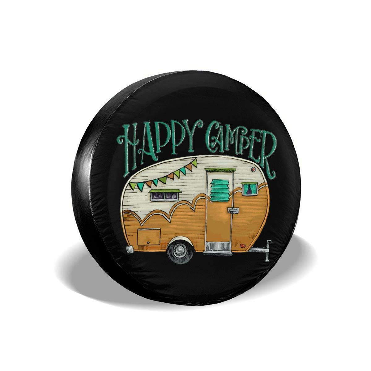 HAINANBOY Happy Camper Spare Tire Covers Potable Corrosion Wheel Covers  Sun-Proof for Jeep Trailer RV SUV Truck Camper Travel Trailer Accessories  14