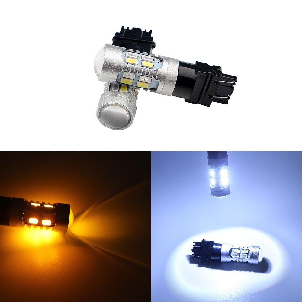 Grandview 3157 5730 20 SMD Amber/White Switchback Turn Signal LED Light Bulbs 3.8W 12V LED Super Bright 600 Lumens 6000-6500K Brake Light Lamp (Pack of 2)
