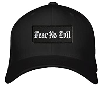 4f4778ae9a6 Fear No Evil Hat - Adjustable Old English Font Cap (Black White) at ...