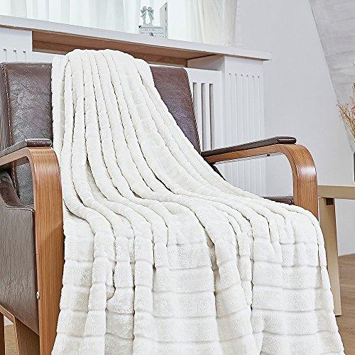 Bertte Ultra Velvet Plush Super Soft Decorative Stripe Throw Blanket-50x 60, Ivory White