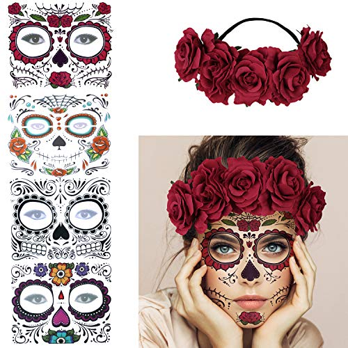 4 Kits Day of the Dead Sugar Skull Temporary Face Tattoo Makeup Tattoo for Men and Women with 1 Rose Red Flower Crown Headband for Halloween Costume (The Best Female Tattoos)