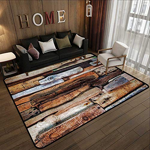 (Bedroom Rugs,Driftwood Decor,Wooden Theme Driftwood and Knotty Planks Vintage Decorative Design Digital Image,Brown 71