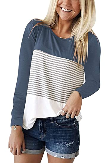 48f53466835 Image Unavailable. Image not available for. Color  Womens Long Sleeve Round  Neck Striped T Shirts ...