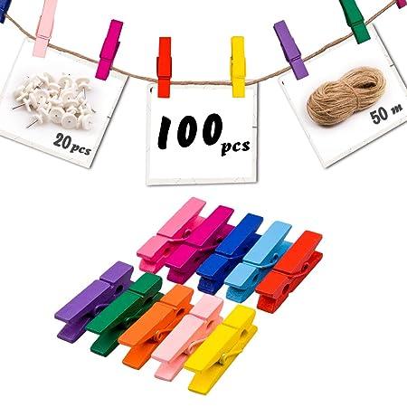 set da 24 pezzi Mollette colorate in legno con applicazioni