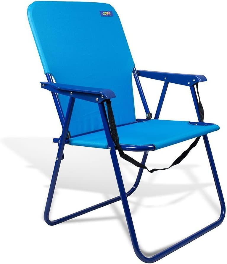 Beach Camping and Tailgating Sturdy Steel Chair 15 Height with Shoulder Strap and Back Pouch by JGR Copa Assorted Colors