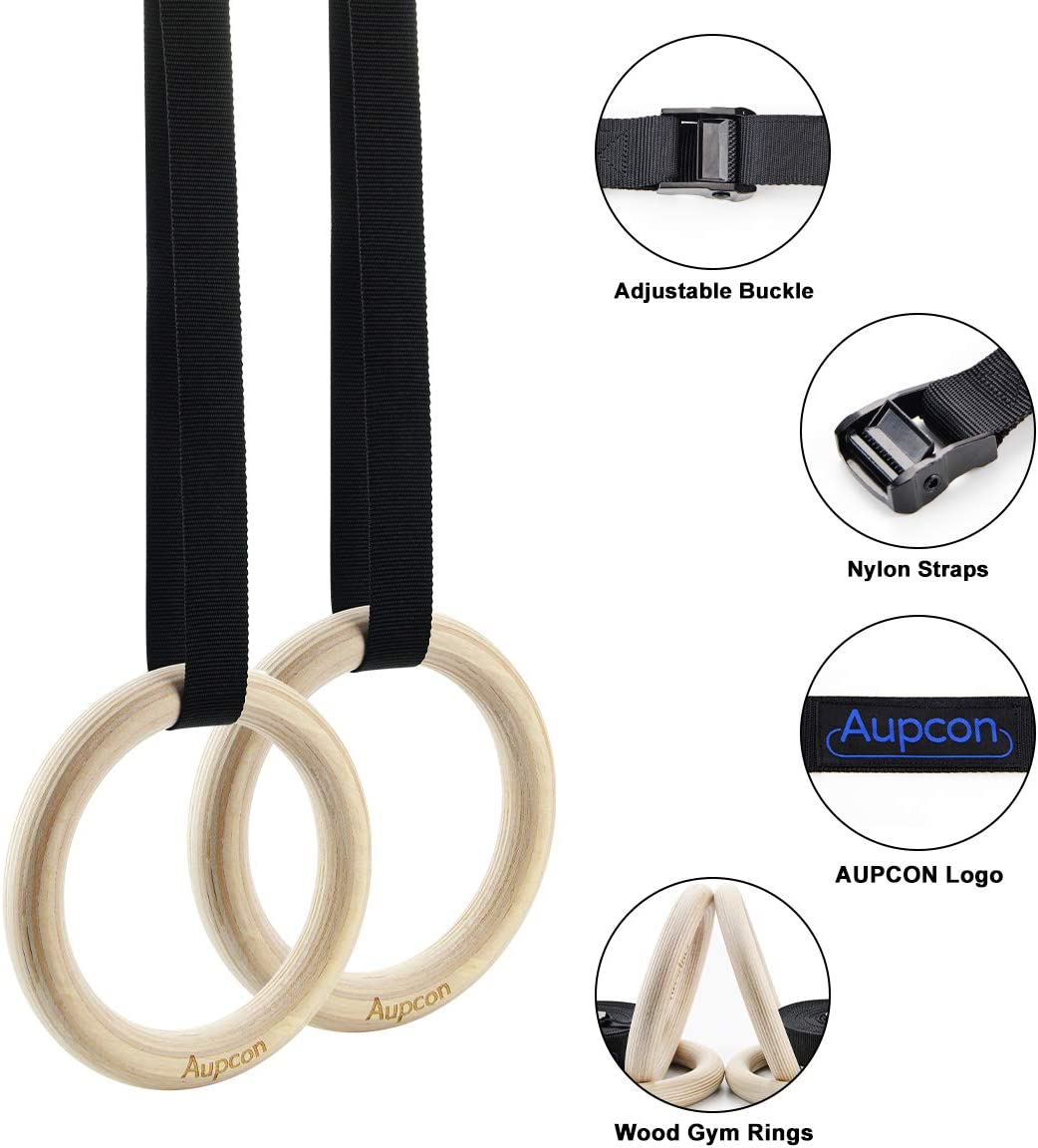Wood Gymnastic Gym Rings with Adjustable Buckles Straps  Strength Training