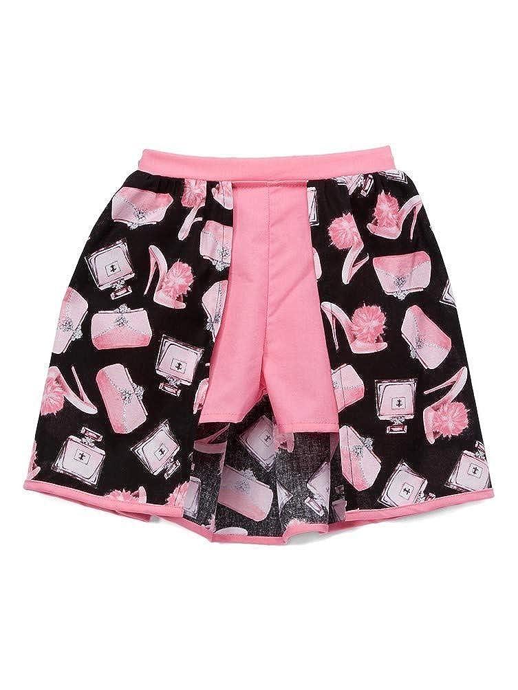 Little Miss Fashion Big Girls Pink Black Purses Printed Pattern Skirt Shorts 7-12
