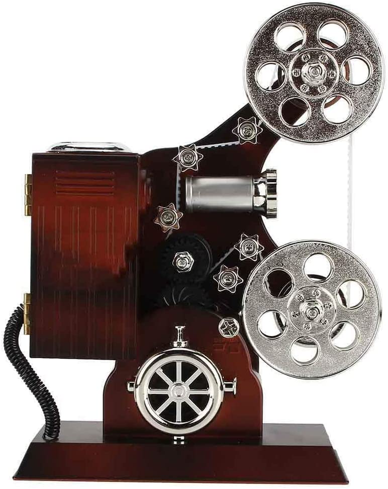 AUNMAS Antique Music Box Vintage Film Projector Jewelry Music Boxes Jewelry Storage Case with Make-Up Mirror Desktop Ornament