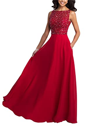 Fannydress V Backless Bateau Prom Dresses Cheap Beaded Crystal Sequins Chiffon Evening Gowns Party Gradaution Dress 2018 at Amazon Womens Clothing store:
