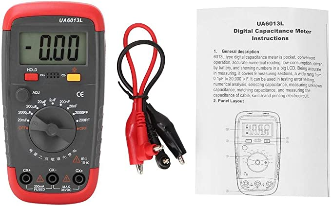 Capacitor Meter 6013L Portable LCD Display Handheld Digital Capacitan Capacitor Meter Tester Battery Powered 0.1 pF to 20,000 uF