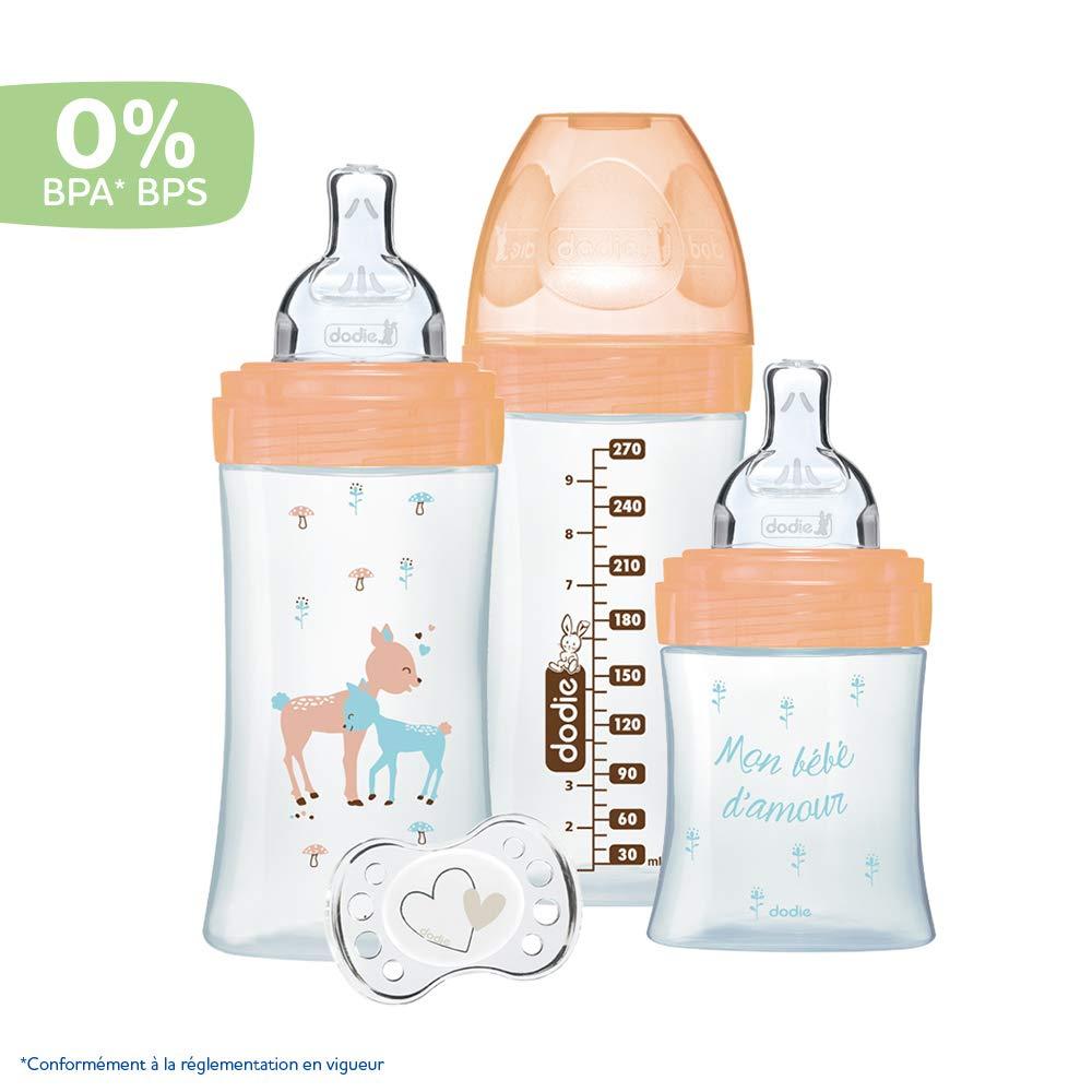 Dodie 1x150 ml, 2x270 ml, 1 Schnuller 0-2 Monate Set 3 Fl/äschchen Aus Glas Damhirschkuh