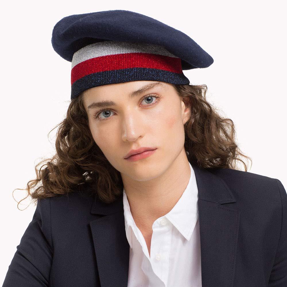 f764856e6c280 Tommy Hilfiger Hats Tommy Rib Beret - Navy-Red 1-Size  Amazon.co.uk   Clothing