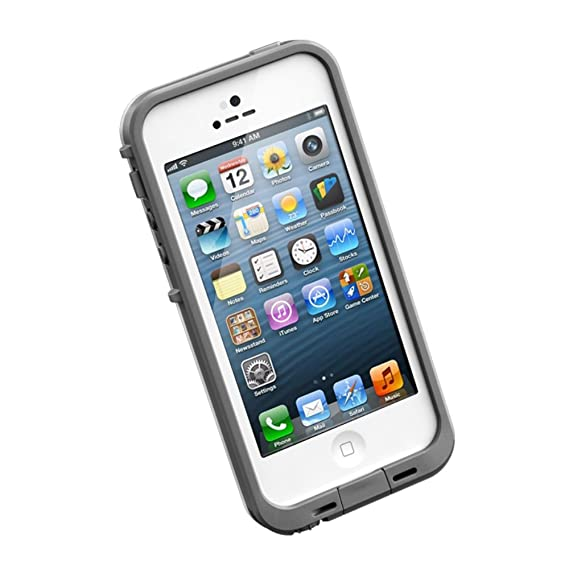 sale retailer 04733 0aaa1 LifeProof FRE iPhone 5 Waterproof Case - Retail Packaging - WHITE/GREY  (Discontinued by Manufacturer)