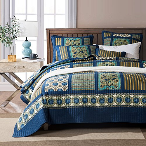 Tache Home Fashion Elegant Striped Forest Patchwork Quilted Coverlet Bedspread Set - Bright Vibrant Multi Colorful Dark Navy Blue Floral Print - King - 3-Pieces by Tache Home Fashion