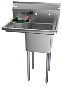"KoolMore 1 Compartment Stainless Steel NSF Commercial Kitchen Prep & Utility Sink with 2 Drainboards - Bowl Size 14"" x 16"" x 11"""