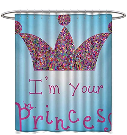 I Am A Princess Shower Curtain Collection Romantic Quote Couples In Love Colorful Mosaic Style Crown