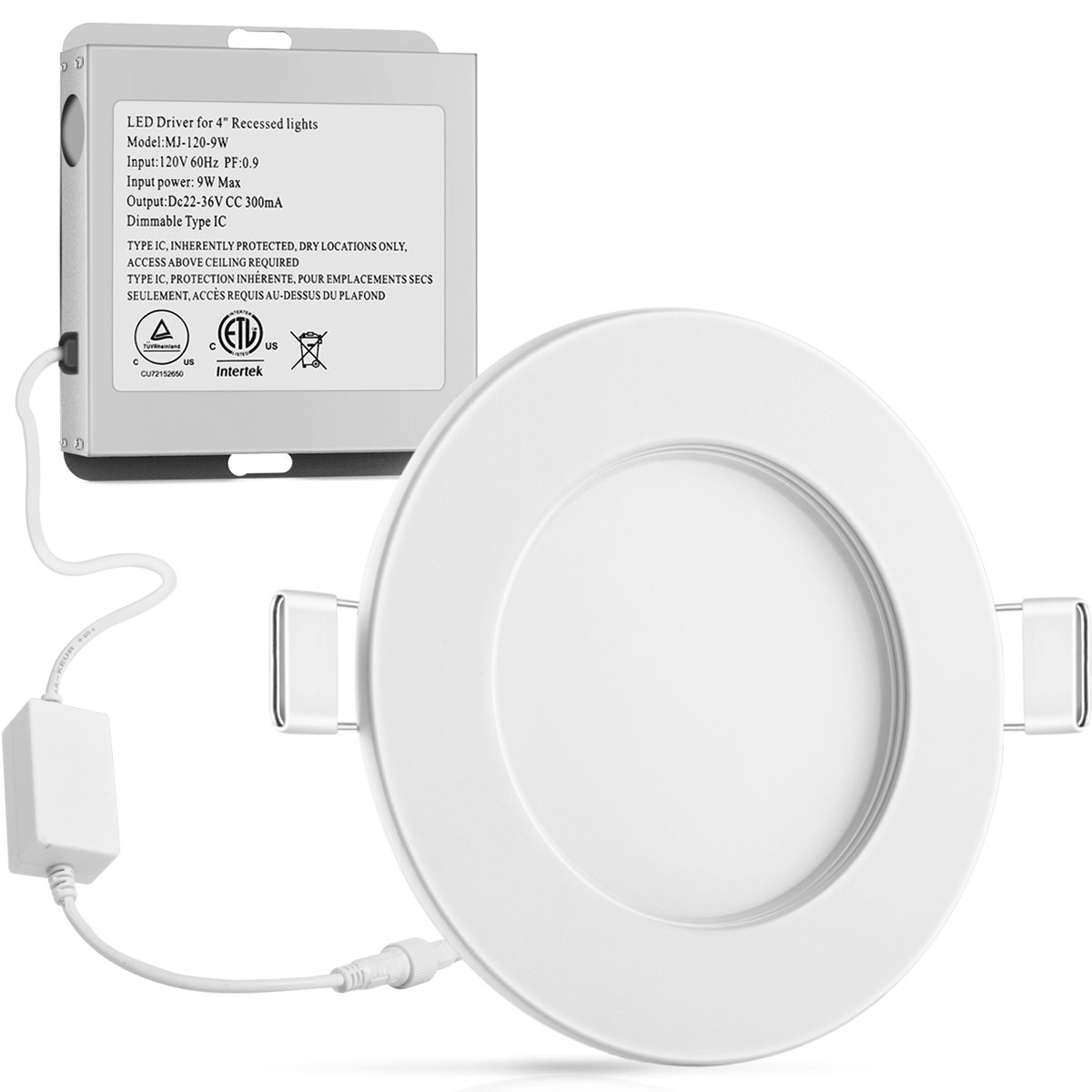 "LED Recessed Downlight, CHOETECH 9W Ultra-Thin 4"" Dimmable Smart LED Panel Wireless Recessed Ceiling Downlight 6000K with Junction Box, Working with Alexa, Android and iOS Phone APP Control"