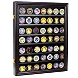 Military Challenge Coin Display Cabinet Rack Shadow Box Wood