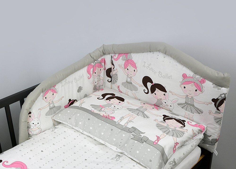 5 Pcs Baby Bedding Set, Padded Safety Bumper - (Fits Cot Bed 140x70 cm, Pattern 3 BabyComfort