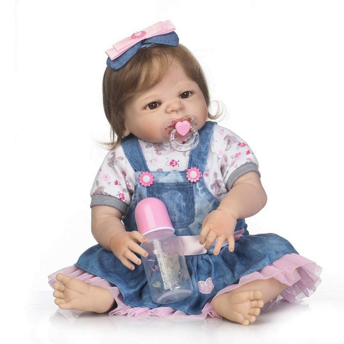 JullyeleESgant 56 cm de Cuerpo Completo de Vinilo de Silicona Suave muñeco de bebé Juguetes no tóxicos Hechos a Mano Adorable Realista niño recién Nacido de la muñeca del bebé Juguetes