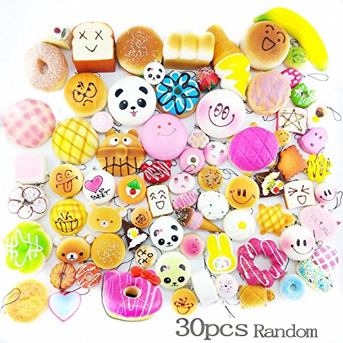 Lelly Q 10/20/30pcs Squishy Food Slow Rising Kawaii Mini Toasts Donuts Bread Panda Phone Key Chain Strap Charm Kids Toy Gift (12pcs) (30pcs)