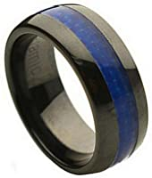 Tungsten Jeweler 8mm Ceramic Domed Black with Blue Carbon Fiber Inlay Wedding Band Ring for Men & Women