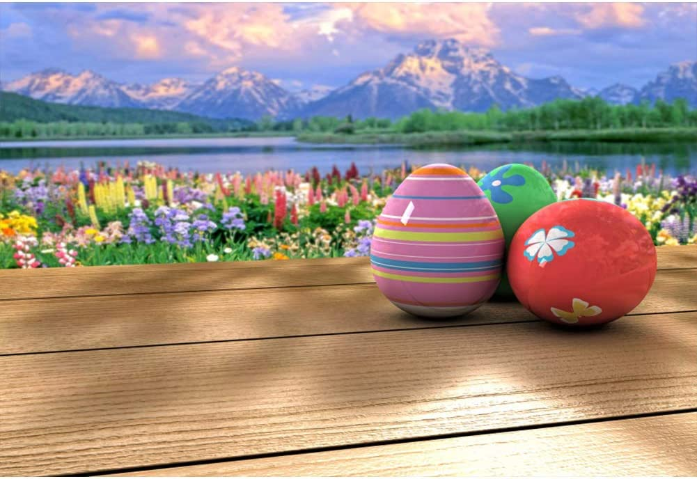 Haoyiyi 10x8ft Easter Photography/Props Backdrop Eggs Spring Scenery Flowers Brown Wood Wooden Background Photo Family Outside Picnic Parties Decoration Picture Video Photocall Supplies