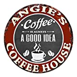 Cheap ANGIE'S Coffee House Chic Tin Sign Rustic Shabby Vintage style Retro Kitchen Bar Pub Coffee Shop man cave Decor Gift Ideas