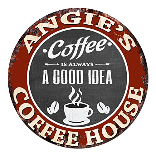 ANGIE'S Coffee House Chic Tin Sign Rustic Shabby Vintage style Retro Kitchen Bar Pub Coffee Shop man cave Decor Gift Ideas