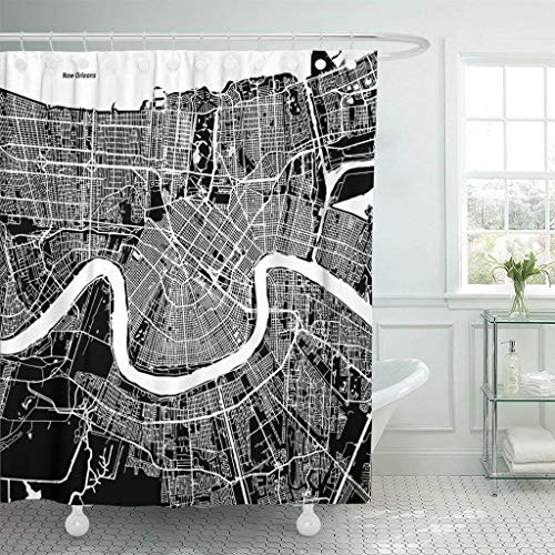 Franala Downtown New Orleans Map Artprint Black Landmass White Water and Roads Mississippi River Polyester Fabric Shower Curtain Sets with Hooks Creative Bathroom Shower Curtain - Mississippi Shower Curtain