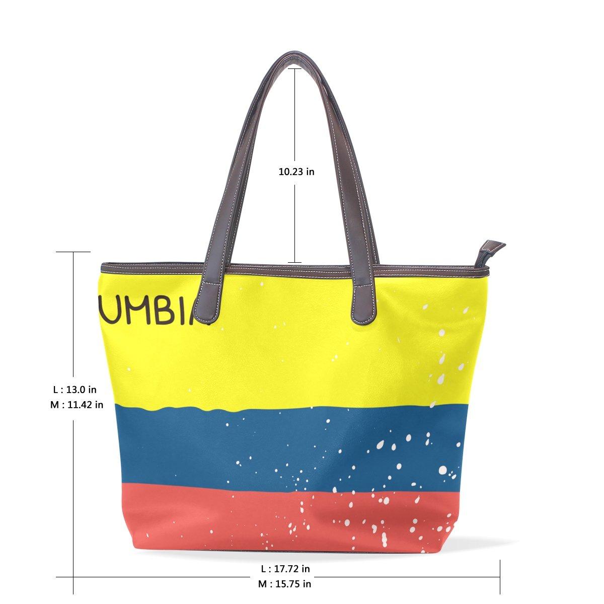 Distressed Columbia Flag Womens Fashion Large Shoulder Bag Handbag Tote Purse for Lady