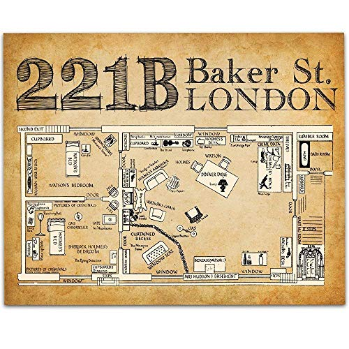 Sherlock Holmes 221B Baker Street - 11x14 Unframed Art Print - Great Gift Under $15 for Sherlock Holmes Fans or Home Theater ()