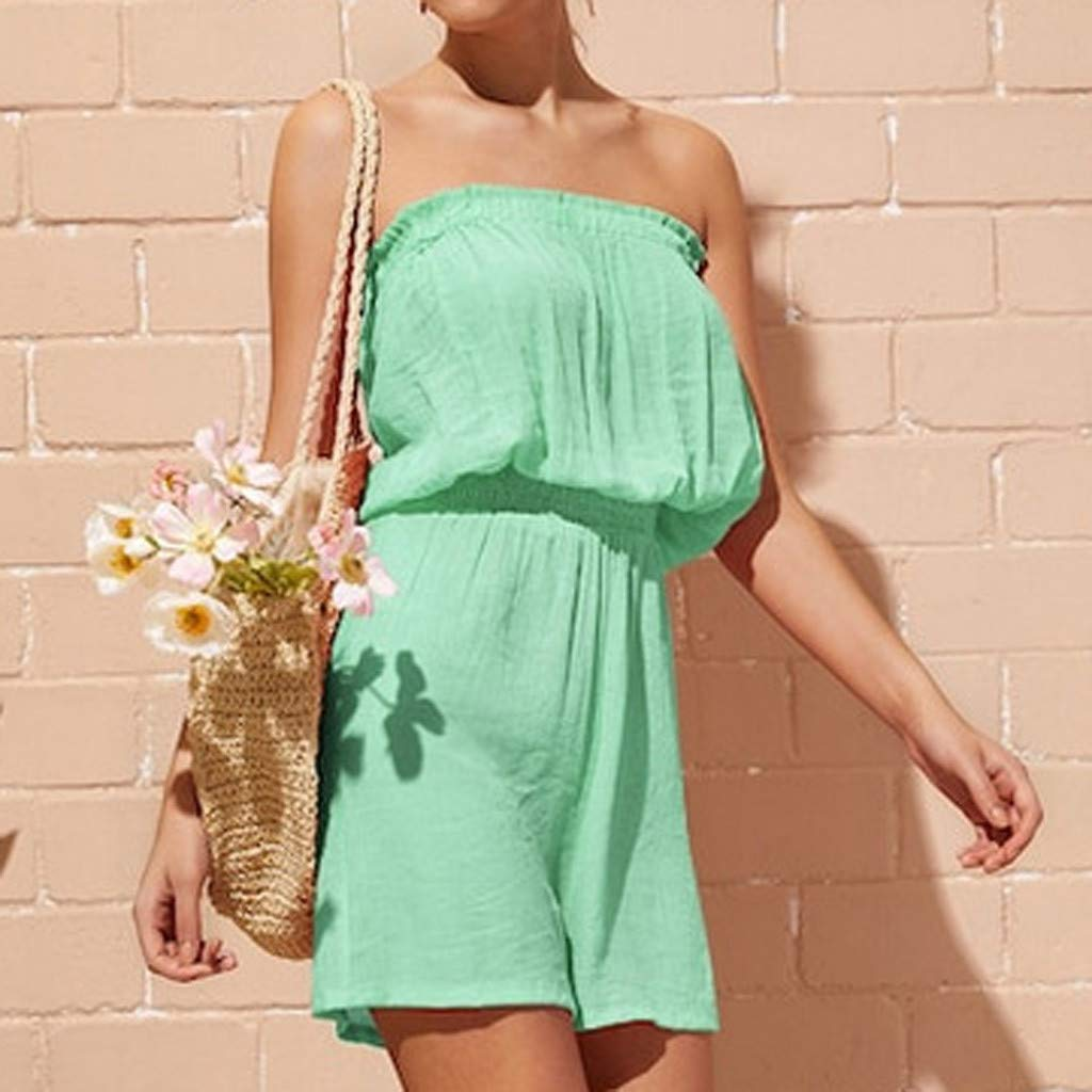 Flexman Fashion Womens Casual Off Shoulder Solid Backless Sleeveless Short Jumpsuit Rompers Mini Dress S, Green