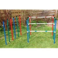 6 dog agility weave poles which convert into 3 dog agility training jumps.(due to amazons new postage policy we can only post this item to mainland uk (England, Wales, and Scotland only))