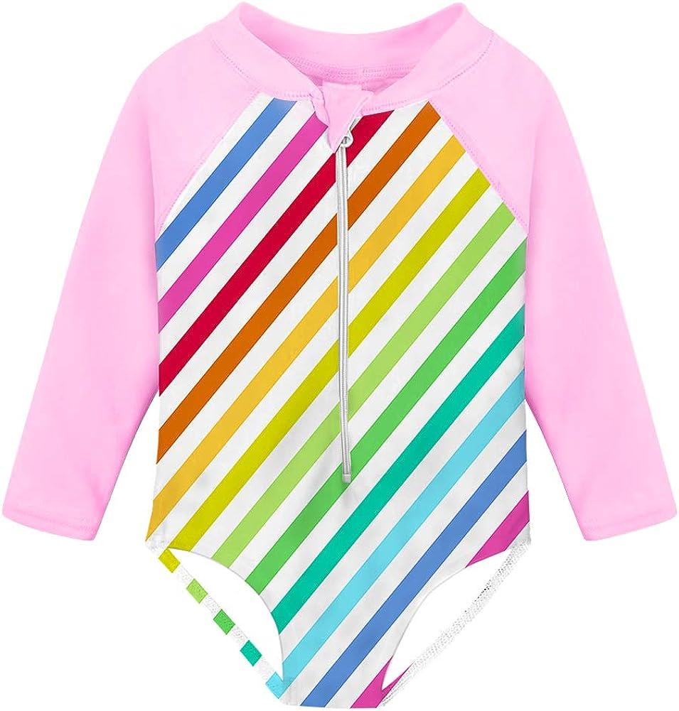 Fanient Girls Zipper Rashguard Swimsuit with UPF50 One Piece Long Sleeve Beach Swimwear Bathing Suit