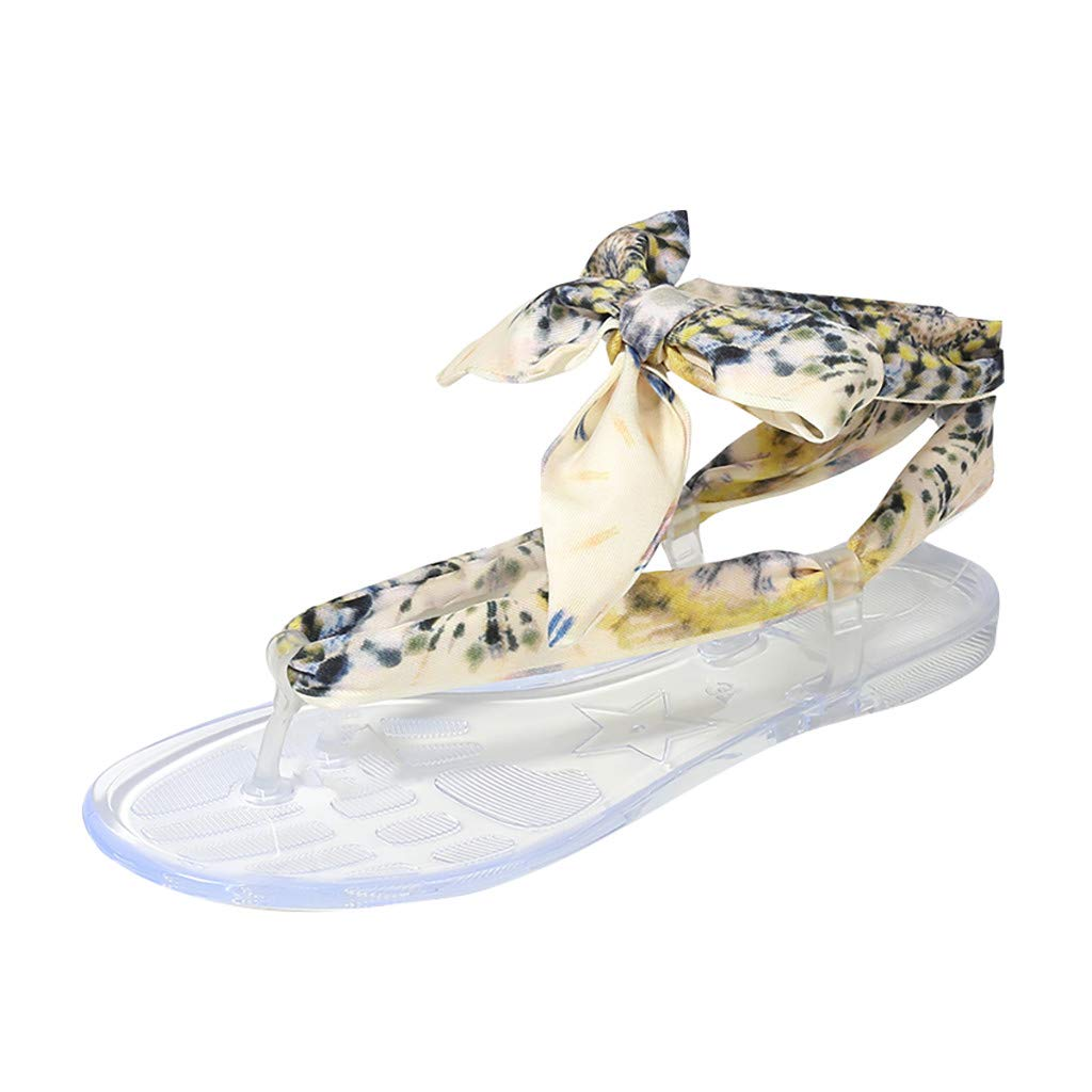 Randolly Women's Shoes Summer Silk Flat-Soled Round Toe Casual Sandals Butterfly-Knot Shoes Gold